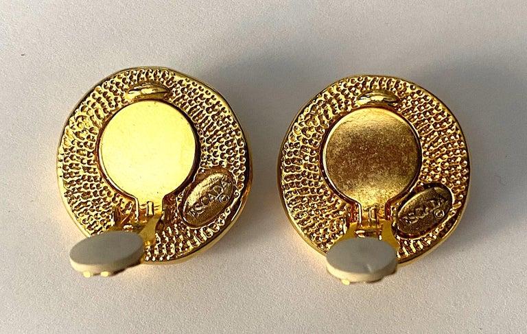 Women's Escada Ivory enamel and Gold Buttom Earrings For Sale