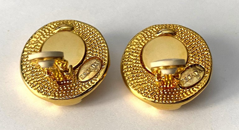 Escada Ivory enamel and Gold Buttom Earrings For Sale 1