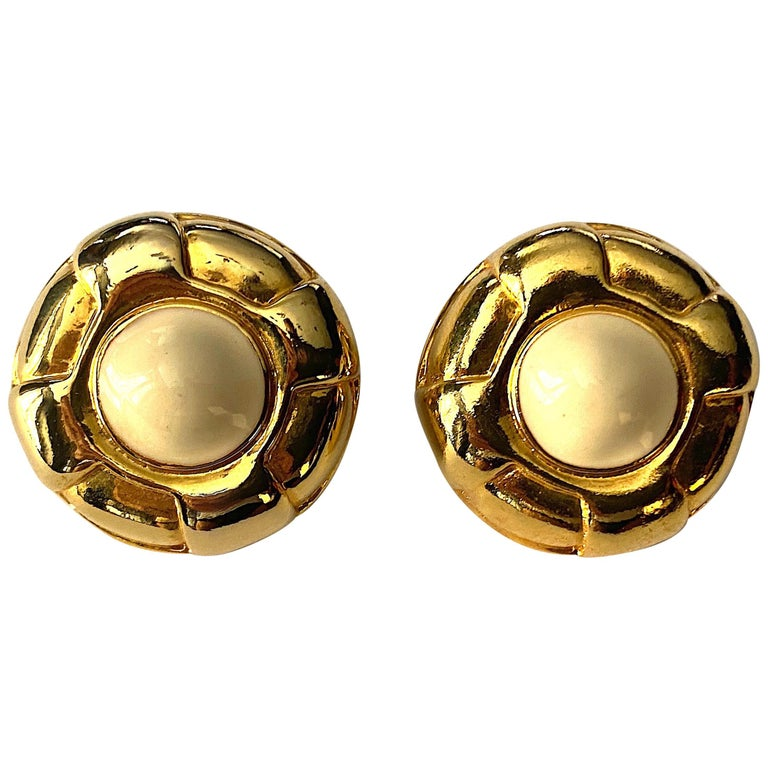 Escada Ivory enamel and Gold Buttom Earrings For Sale