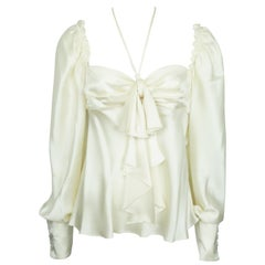 Escada Ivory Silk L/S Top w/ Front Bow - 38 - NWT