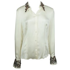 Escada Ivory Silk Top w/ Floral Beaded Details - 38
