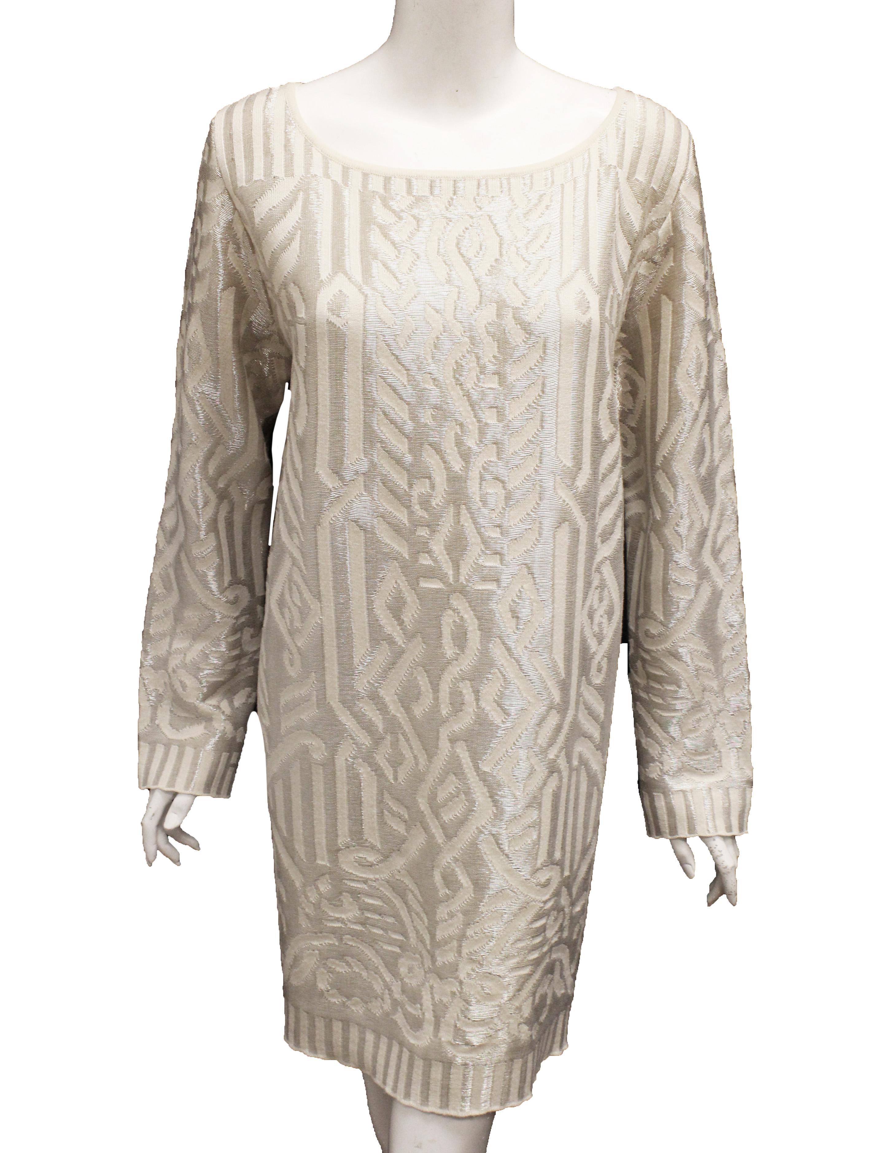 Escada Ivory Tunic Style Sweater Dress with Silver Metallic Threads