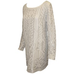 Escada Ivory Tunic Style Sweater Dress with Silver Metallic Threads