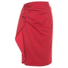 Escada Lacquer Red Stretch Knit Draped Ranani Pencil Skirt M