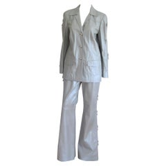 Escada Leather Jacket Pants - Western Motif Grey Suit New With Tags 1990s