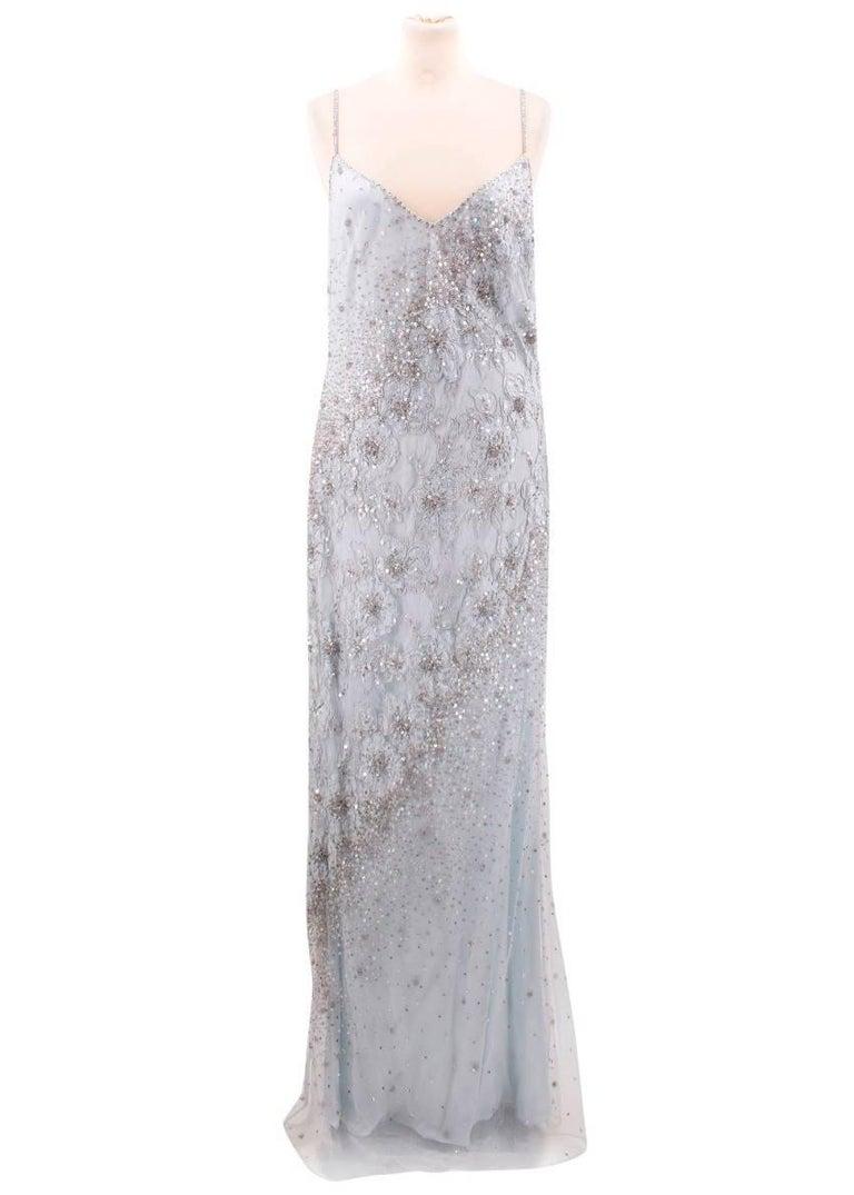 Escada Light Blue Embellished Gown (Size: US 6/S) For Sale at 1stdibs