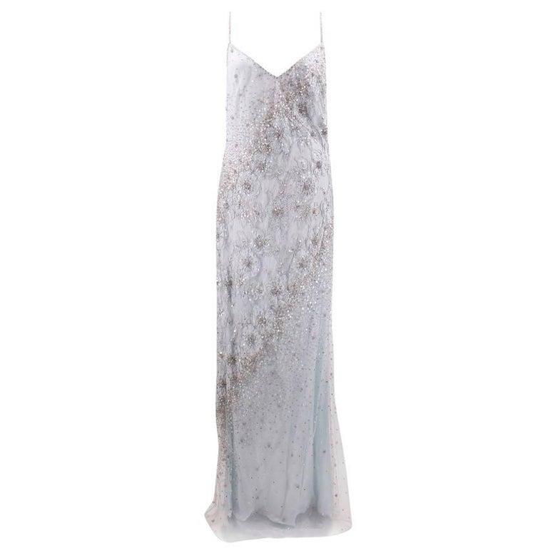 Escada Light Blue Embellished Gown (Size: US 6/S)