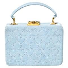 Escada Light Blue Nubuck Leather Box Top Handle Bag