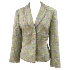 Escada light green wool cotton beads jacket