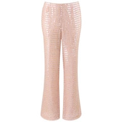 ESCADA Light Pink Silk Bead & Sequin Embellished Shimmer Wide Leg Flare Pants