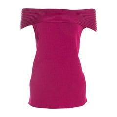 Escada Magenta Pink Rib Knit Off Shoulder SleevelessTop L
