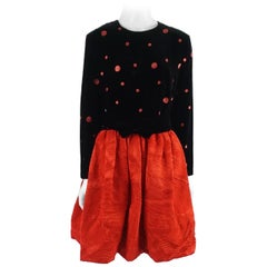 Escada Margaretha Ley Black and Red Velvet Polka Dot Dress-42
