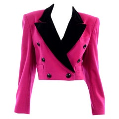Escada Margaretha Ley Bright Pink Wool Short Blazer Jacket Black Velvet Trim