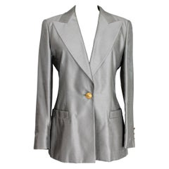 Escada Margaretha Ley Gray Silk Button Jewel Evening Structured Jacket