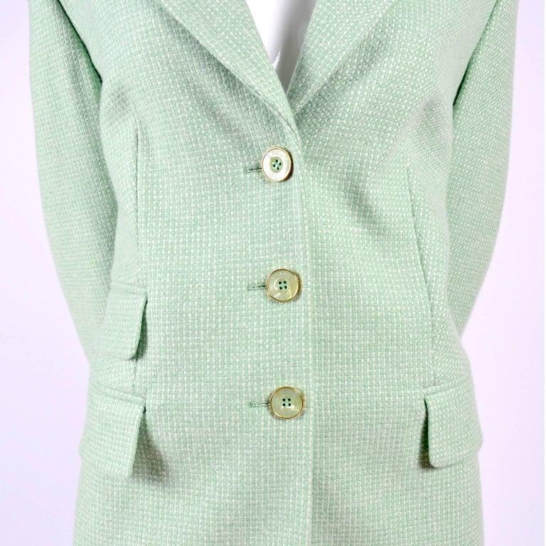 Gray Escada Margaretha Ley Green Cashmere Blazer Jacket in Size 8 For Sale