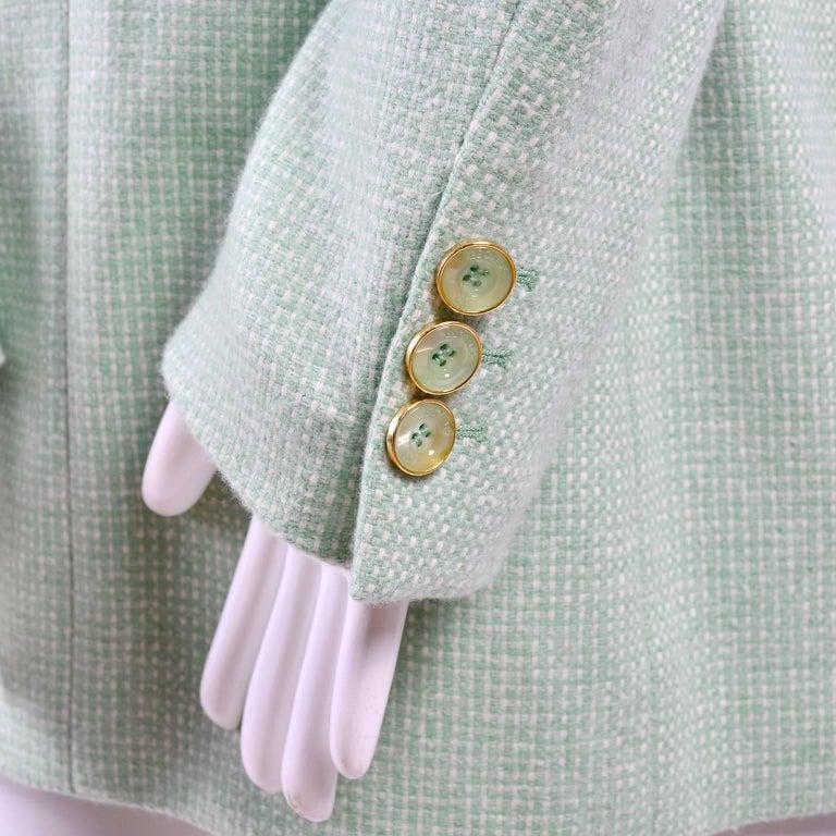 Escada Margaretha Ley Green Cashmere Blazer Jacket in Size 8 For Sale 3
