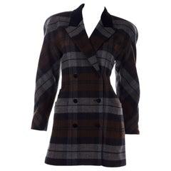 Escada Margaretha Ley Plaid Wool Blazer Longline Jacket in Gray & Brown Plaid