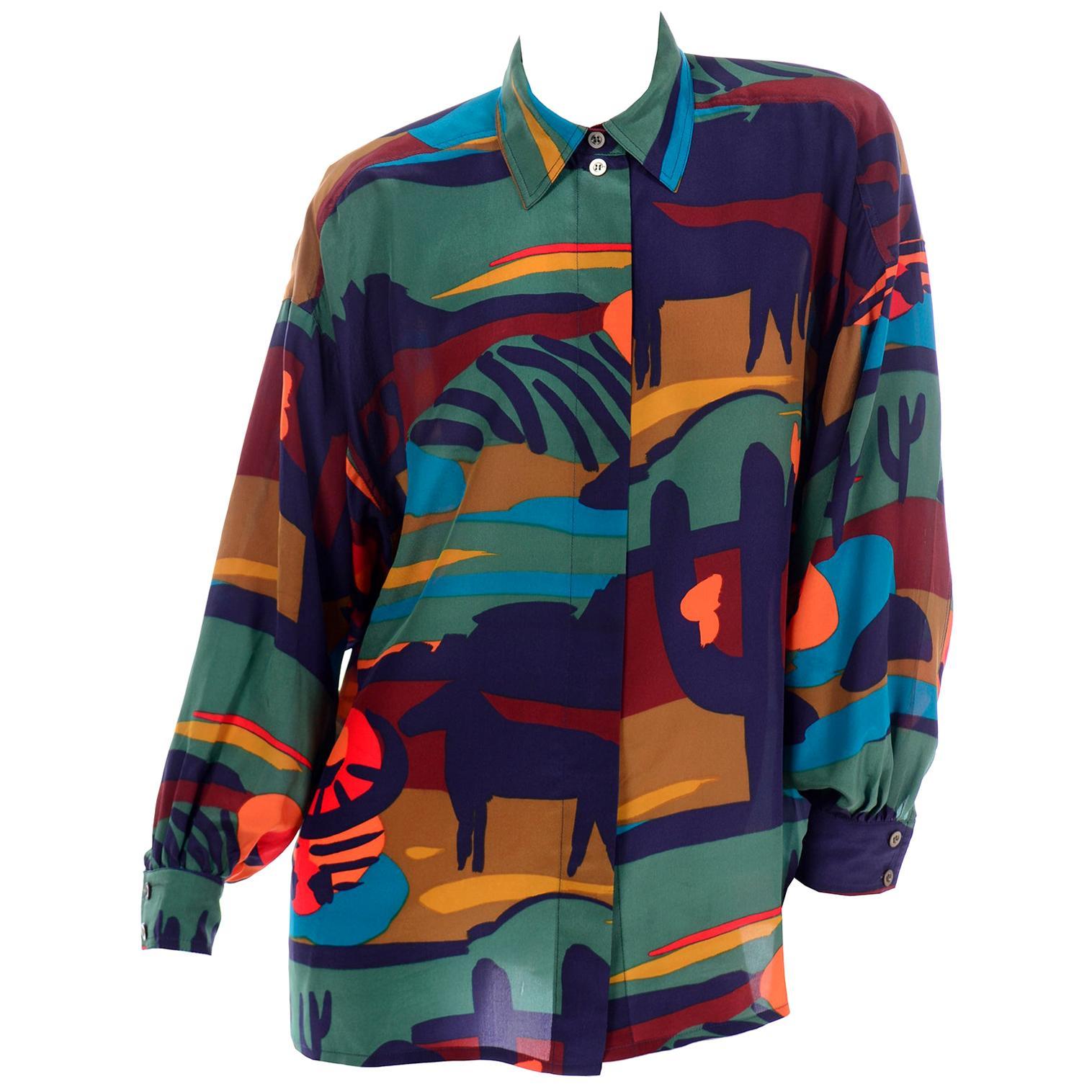 Escada Margaretha Ley Top 1980s Vintage Western Theme Long Sleeve Silk Blouse