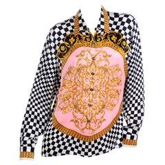 Escada Margaretha Ley Vintage Black & White Check Silk Blouse Pink Baroque Print