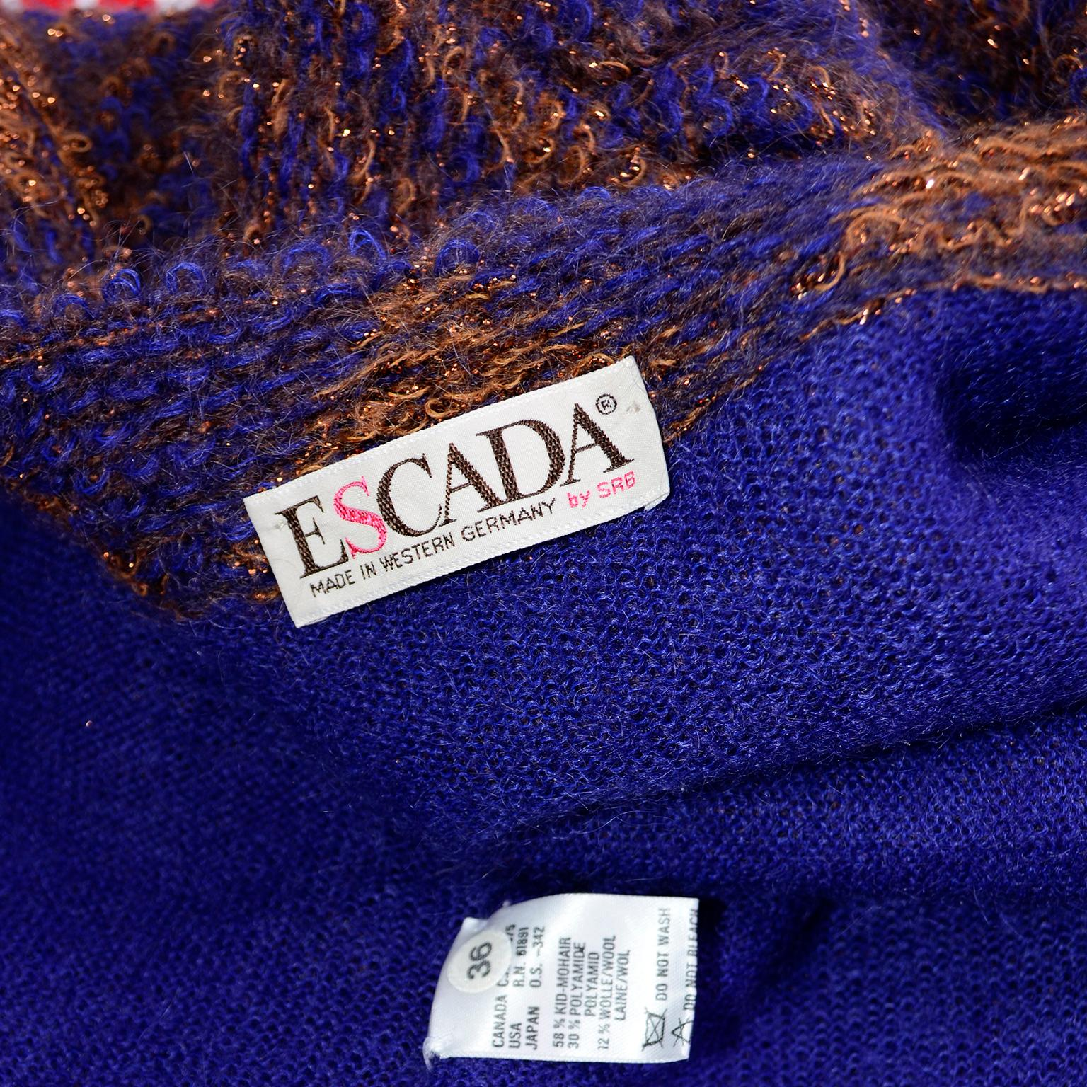 escada margaretha ley vintage blue & copper mohair wool long cardigan sweater  wolle blends c 2_15 #15