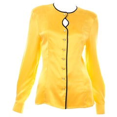 Escada Margaretha Ley Vintage Gold Yellow Silk Blouse Top w Keyhole & Black Trim