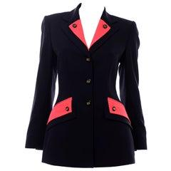 Escada Margaretha Ley Vintage Navy Blue Wool Blazer Jacket With Red Trim