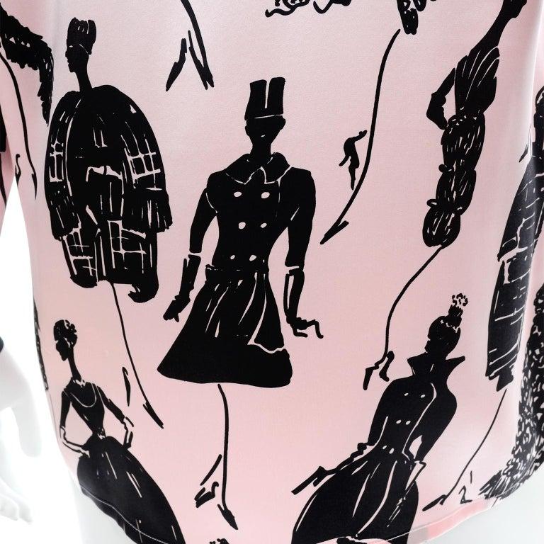Escada Margaretha Ley Vintage Pink & Black  Silk Fashion Novelty Print Blouse For Sale 7