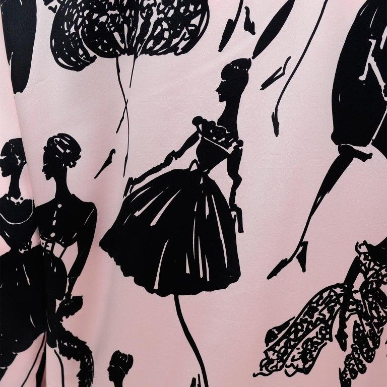 Escada Margaretha Ley Vintage Pink & Black  Silk Fashion Novelty Print Blouse For Sale 8