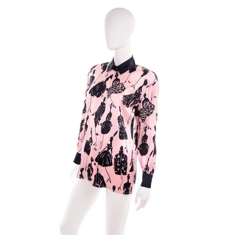 Escada Margaretha Ley Vintage Pink & Black  Silk Fashion Novelty Print Blouse In Good Condition For Sale In Portland, OR
