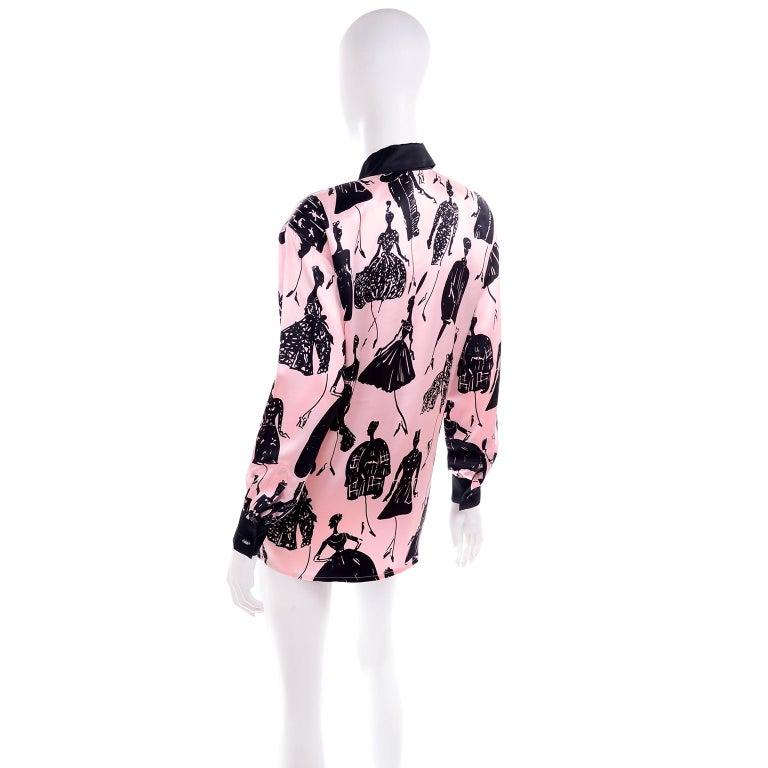 Women's Escada Margaretha Ley Vintage Pink & Black  Silk Fashion Novelty Print Blouse For Sale