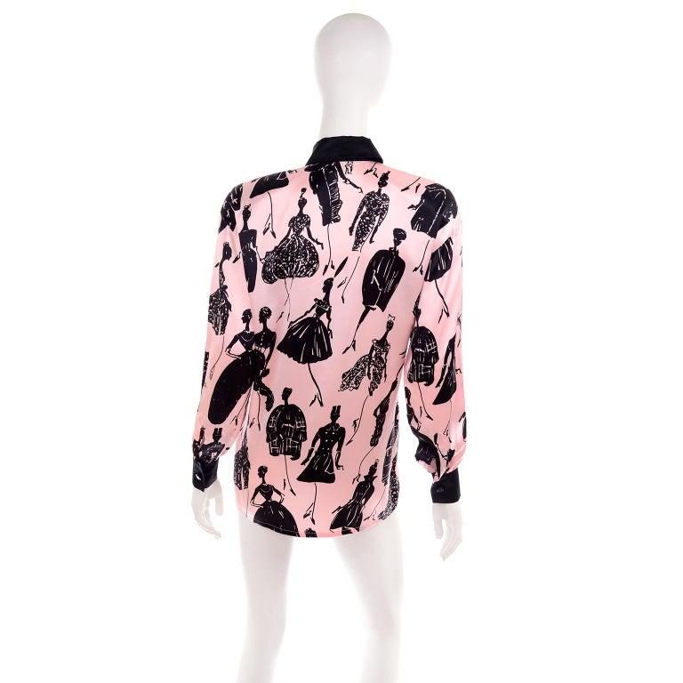Escada Margaretha Ley Vintage Pink & Black  Silk Fashion Novelty Print Blouse For Sale 1