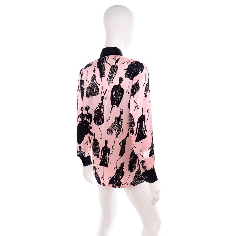 Escada Margaretha Ley Vintage Pink & Black  Silk Fashion Novelty Print Blouse For Sale 2