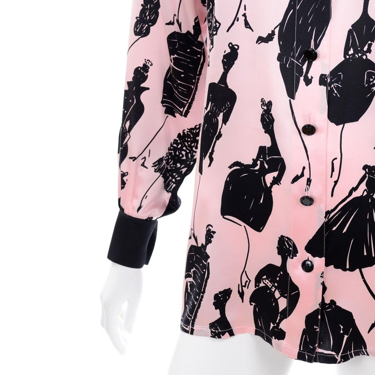 Escada Margaretha Ley Vintage Pink & Black  Silk Fashion Novelty Print Blouse For Sale 3