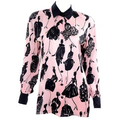 Escada Margaretha Ley Vintage Pink & Black  Silk Fashion Novelty Print Blouse