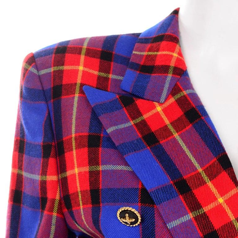 Vintage 90s Escada by Margaretha Ley Blue Plaid Pure Wool Blazer Made in Germany