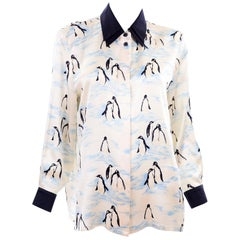 Escada Margaretha Ley Vintage Silk Blouse in Blue & Ivory Penguin Novelty Print
