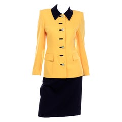 Escada Margaretha Ley Vintage Suit Yellow Jacket Silk Top & Black Pencil Skirt