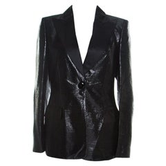 Escada Metallic Black Satin Trim Tailored Blazer L