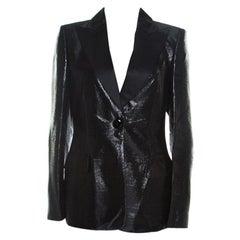 Escada Metallic Black Satin Trim Tailored Blazer M