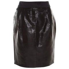 Escada Metallic Black Satin Trim Tailored Skirt L