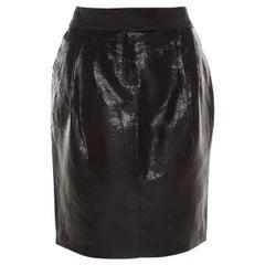 Escada Metallic Black Satin Trim Tailored Skirt M