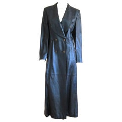 Escada Metallic Blue Leather Trench Overcoat New With Tags Size 38 1990s