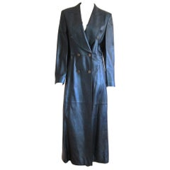 Escada Metallic Blue Leather Trench Overcoat Size 38 1990s New With Tags Coat