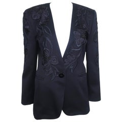 Escada Midnight Blue Faille Jacket With Embroidery & Beading, 1980's