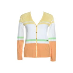 Escada Multicolor Rib Knit Button Front Cardigan M