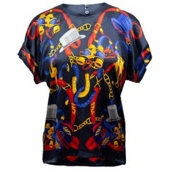 Escada Navy & Multicolor Silk Equestrian Print Top