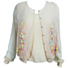 Escada Nude Sweater Twin Set Floral Swarovski Crystal Buttons NWT XL