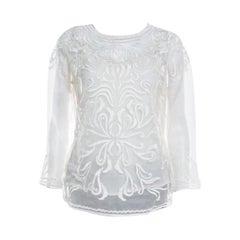 Escada Off White Embroidered Sheer Silk Organza Long Sleeve Nensa Blouse M