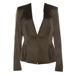 Escada Olive Green Silk Satin Tailored Blazer M