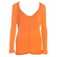 Escada Orange Rib Knit Crochet Trim Button Front Cardigan L